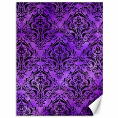 Damask1 Black Marble & Purple Watercolor Canvas 36  X 48