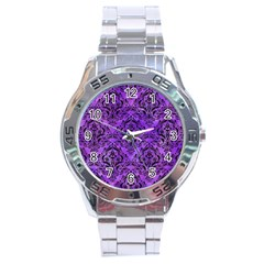 Damask1 Black Marble & Purple Watercolor Stainless Steel Analogue Watch