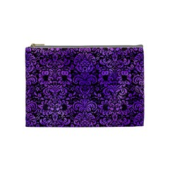 Damask2 Black Marble & Purple Watercolor (r) Cosmetic Bag (medium)