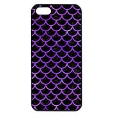 Scales1 Black Marble & Purple Watercolor (r) Apple Iphone 5 Seamless Case (black)
