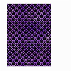Scales2 Black Marble & Purple Watercolor (r) Large Garden Flag (two Sides)
