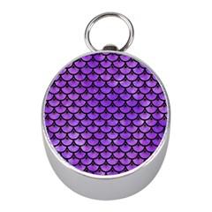 Scales3 Black Marble & Purple Watercolor Mini Silver Compasses