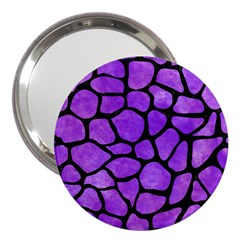 Skin1 Black Marble & Purple Watercolor (r) 3  Handbag Mirrors