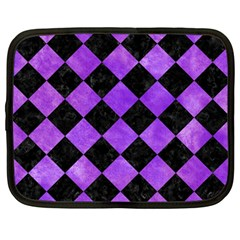 Square2 Black Marble & Purple Watercolor Netbook Case (large)