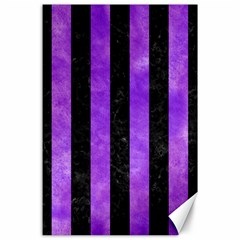 Stripes1 Black Marble & Purple Watercolor Canvas 24  X 36