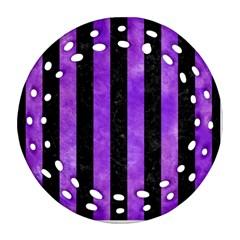 Stripes1 Black Marble & Purple Watercolor Ornament (round Filigree)