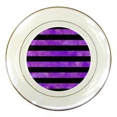 Stripes2 Black Marble & Purple Watercolor Porcelain Plates