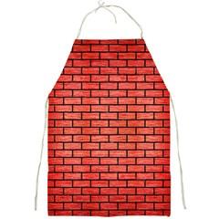 Brick1 Black Marble & Red Brushed Metal Full Print Aprons