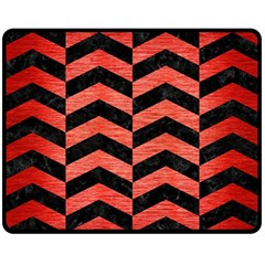 Chevron2 Black Marble & Red Brushed Metal Fleece Blanket (medium)