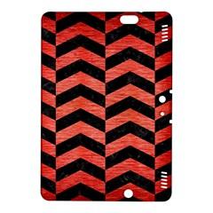 Chevron2 Black Marble & Red Brushed Metal Kindle Fire Hdx 8 9  Hardshell Case