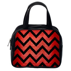 Chevron9 Black Marble & Red Brushed Metal Classic Handbags (one Side)