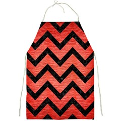Chevron9 Black Marble & Red Brushed Metal Full Print Aprons