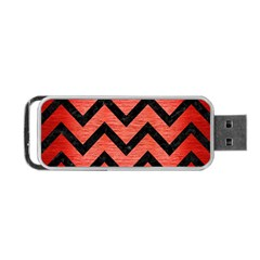 Chevron9 Black Marble & Red Brushed Metal Portable Usb Flash (two Sides)