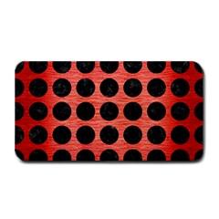 Circles1 Black Marble & Red Brushed Metal Medium Bar Mats