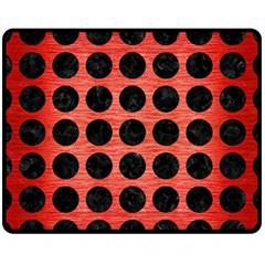 Circles1 Black Marble & Red Brushed Metal Fleece Blanket (medium)