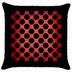 Circles2 Black Marble & Red Brushed Metal Throw Pillow Case (black)