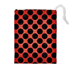 Circles2 Black Marble & Red Brushed Metal Drawstring Pouches (extra Large)