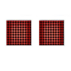 Houndstooth1 Black Marble & Red Brushed Metal Cufflinks (square)