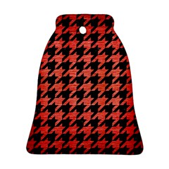 Houndstooth1 Black Marble & Red Brushed Metal Ornament (bell)