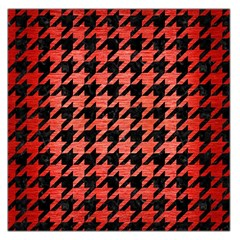 Houndstooth1 Black Marble & Red Brushed Metal Large Satin Scarf (square)