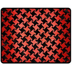Houndstooth2 Black Marble & Red Brushed Metal Double Sided Fleece Blanket (medium)