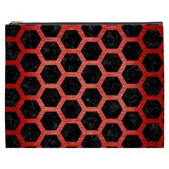 Hexagon2 Black Marble & Red Brushed Metal (r) Cosmetic Bag (xxxl)