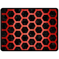 Hexagon2 Black Marble & Red Brushed Metal (r) Double Sided Fleece Blanket (large)