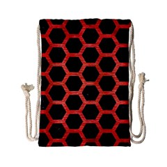 Hexagon2 Black Marble & Red Brushed Metal (r) Drawstring Bag (small)