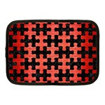 PUZZLE1 BLACK MARBLE & RED BRUSHED METAL Netbook Case (Medium)  Front