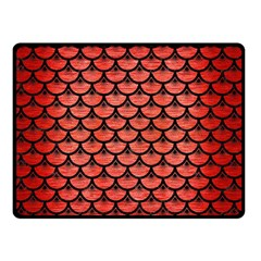Scales3 Black Marble & Red Brushed Metal Double Sided Fleece Blanket (small)