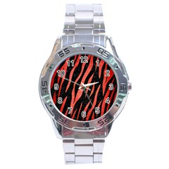Skin3 Black Marble & Red Brushed Metal (r) Stainless Steel Analogue Watch