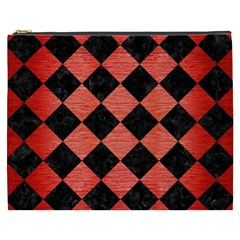 Square2 Black Marble & Red Brushed Metal Cosmetic Bag (xxxl)