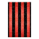 STRIPES1 BLACK MARBLE & RED BRUSHED METAL Shower Curtain 48  x 72  (Small)  42.18 x64.8 Curtain