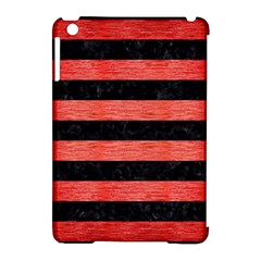 Stripes2 Black Marble & Red Brushed Metal Apple Ipad Mini Hardshell Case (compatible With Smart Cover)