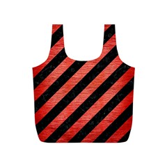 Stripes3 Black Marble & Red Brushed Metal (r) Full Print Recycle Bags (s)