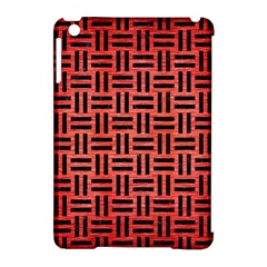 Woven1 Black Marble & Red Brushed Metal Apple Ipad Mini Hardshell Case (compatible With Smart Cover)