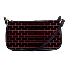 Brick1 Black Marble & Red Colored Pencil (r) Shoulder Clutch Bags