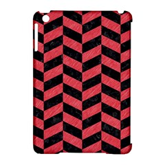 Chevron1 Black Marble & Red Colored Pencil Apple Ipad Mini Hardshell Case (compatible With Smart Cover)