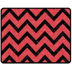 Chevron9 Black Marble & Red Colored Pencil Double Sided Fleece Blanket (medium)