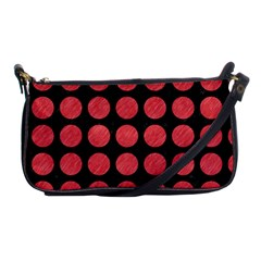 Circles1 Black Marble & Red Colored Pencil (r) Shoulder Clutch Bags