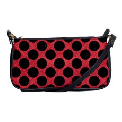 Circles2 Black Marble & Red Colored Pencil Shoulder Clutch Bags