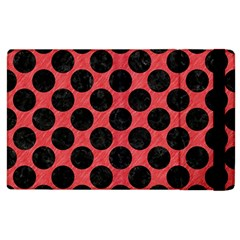 Circles2 Black Marble & Red Colored Pencil Apple Ipad 2 Flip Case