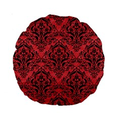 Damask1 Black Marble & Red Colored Pencil Standard 15  Premium Round Cushions