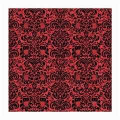 Damask2 Black Marble & Red Colored Pencil Medium Glasses Cloth (2 Side)