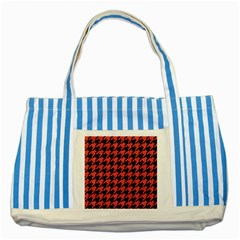 Houndstooth1 Black Marble & Red Colored Pencil Striped Blue Tote Bag