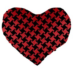 Houndstooth2 Black Marble & Red Colored Pencil Large 19  Premium Heart Shape Cushions