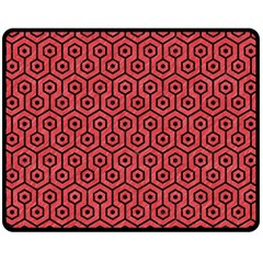 Hexagon1 Black Marble & Red Colored Pencil Double Sided Fleece Blanket (medium)