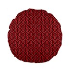 HEXAGON1 BLACK MARBLE & RED COLORED PENCIL Standard 15  Premium Flano Round Cushions Front