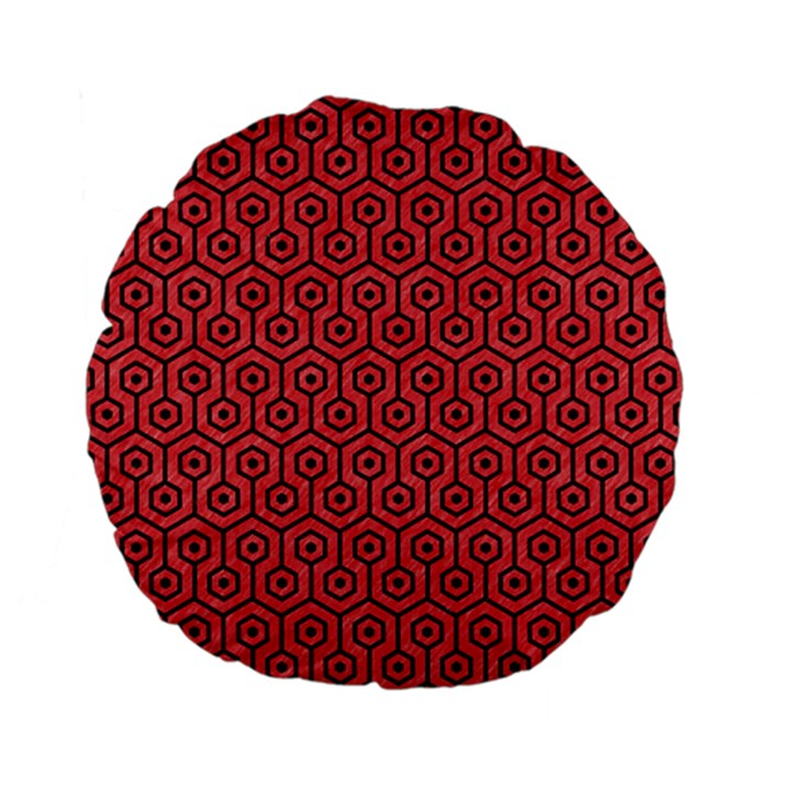 HEXAGON1 BLACK MARBLE & RED COLORED PENCIL Standard 15  Premium Flano Round Cushions