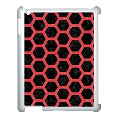 Hexagon2 Black Marble & Red Colored Pencil (r) Apple Ipad 3/4 Case (white)